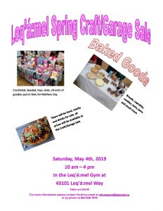 Leq'a:mel Spring Craft/Garage Sale @ Leq'a:mel First Nation